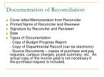 documentation of reconciliation