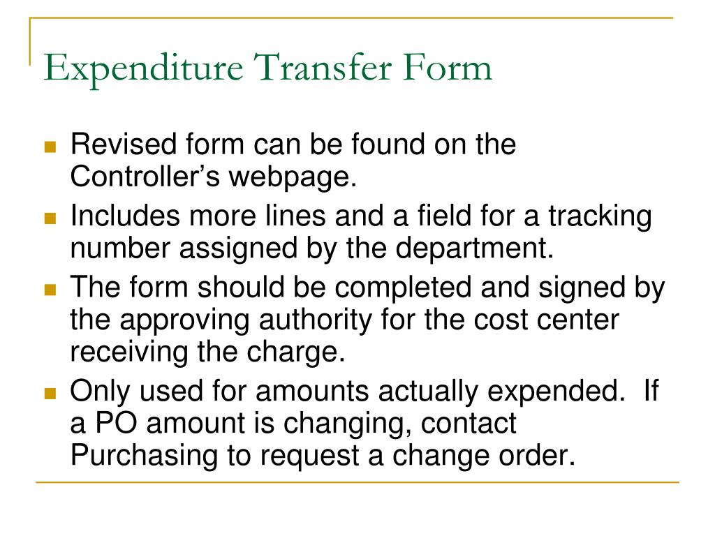 Expenditure Transfer Form
