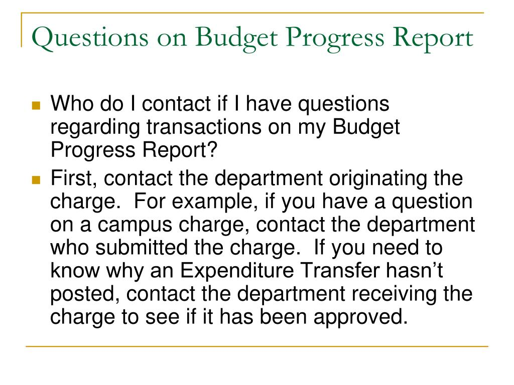 Questions on Budget Progress Report
