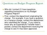 questions on budget progress report