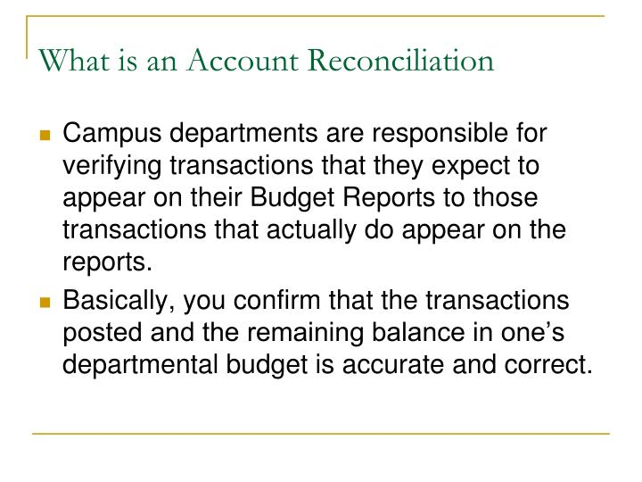 What is an account reconciliation
