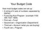 your budget code
