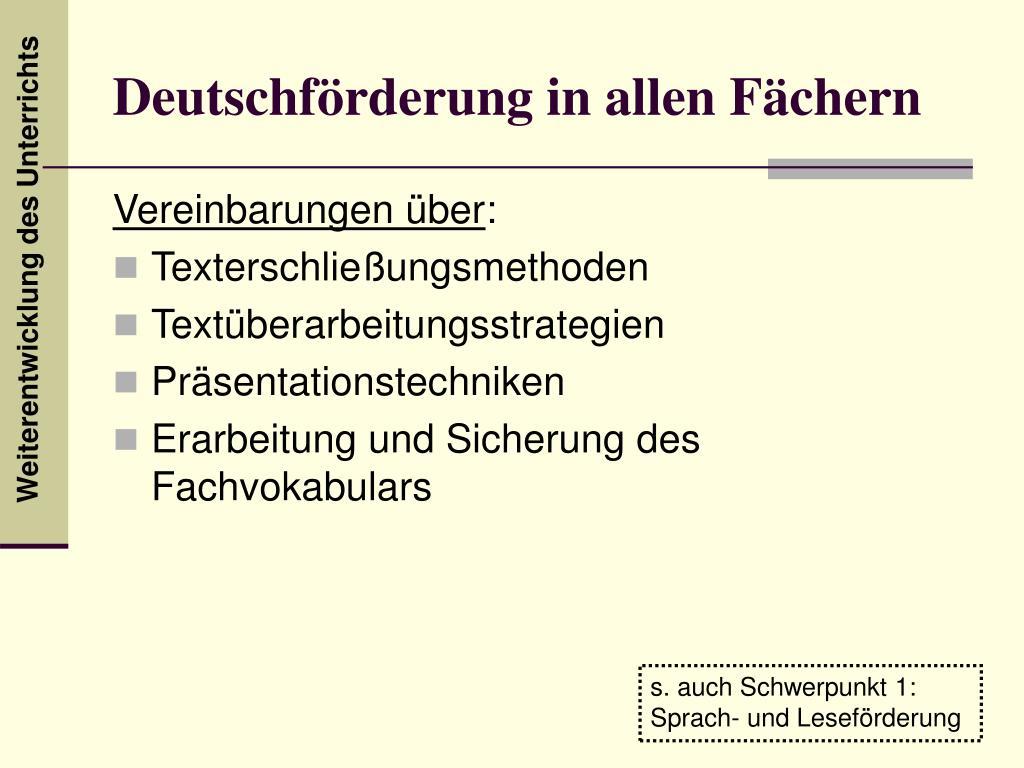 Deutschförderung in allen Fächern