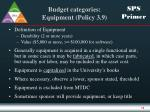 budget categories equipment policy 3 9