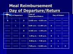 meal reimbursement day of departure return