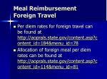 meal reimbursement foreign travel