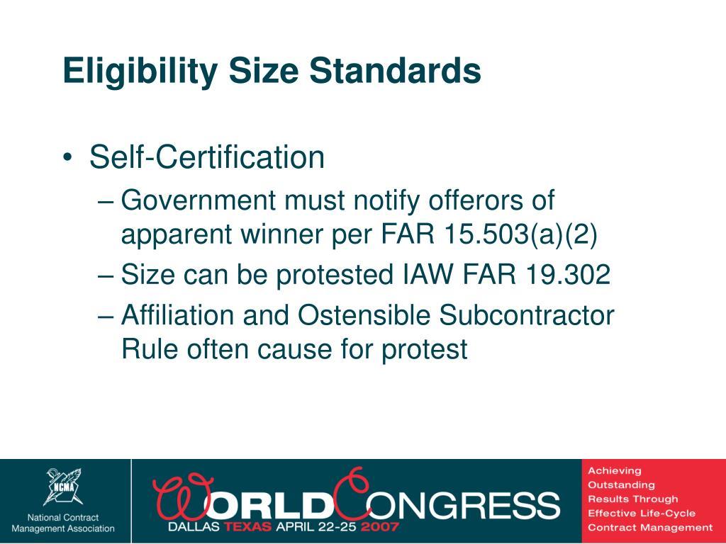 Eligibility Size Standards