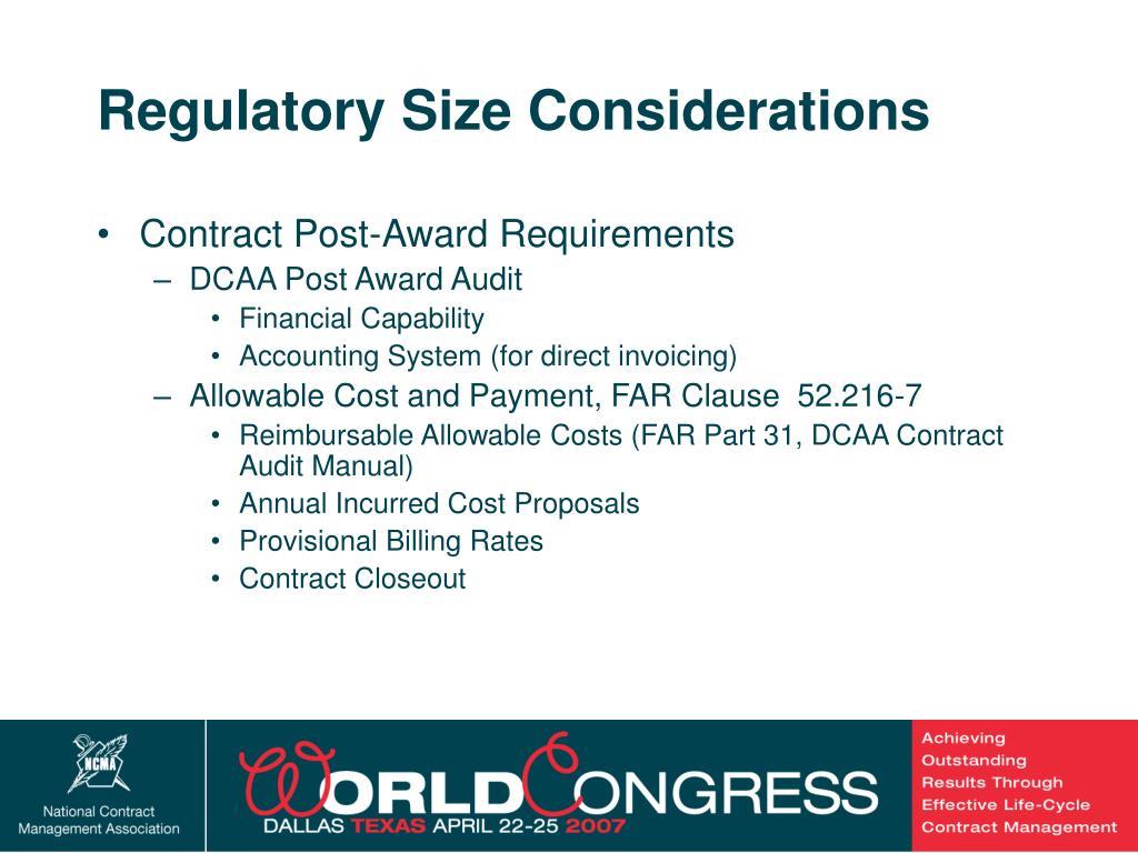 Regulatory Size Considerations