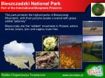 bieszczadzki national park part of the international biosphere preserve
