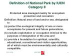 definition of national park by iucn category ii