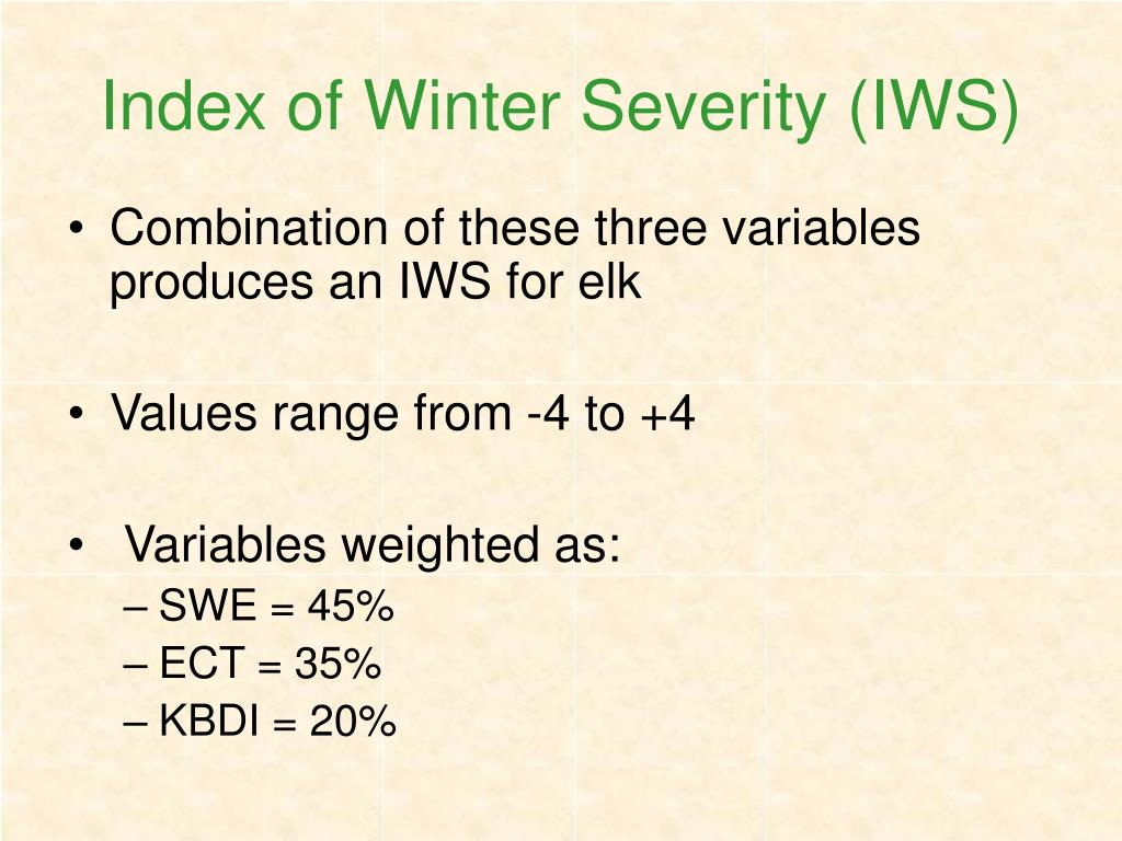 Index of Winter Severity (IWS)