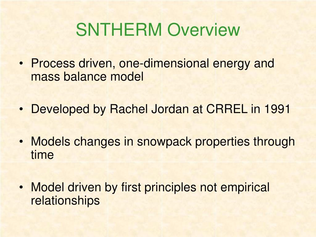 SNTHERM Overview