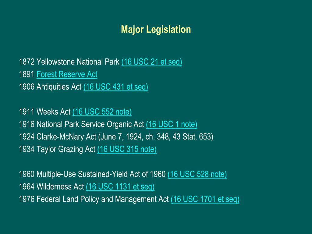 Major Legislation
