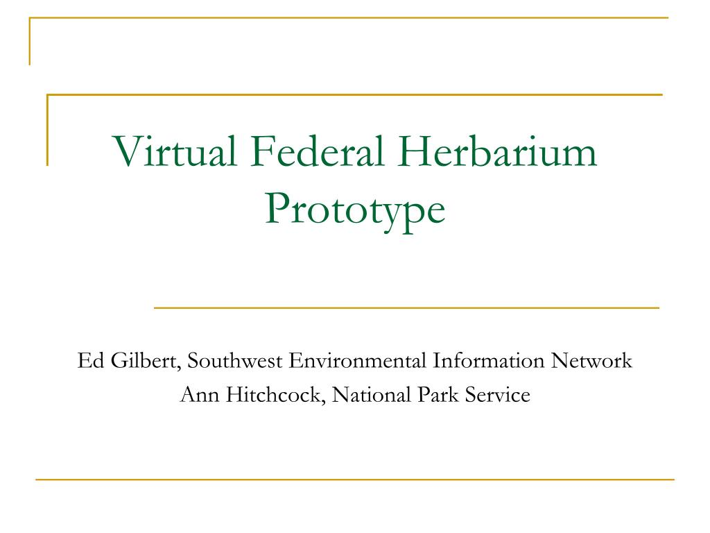 virtual federal herbarium prototype l.
