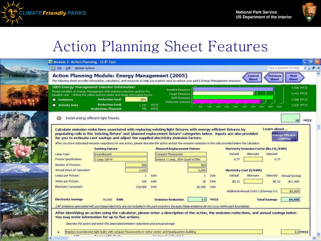 Action Planning Sheet Features