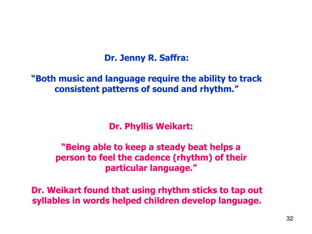 Dr. Jenny R. Saffra: