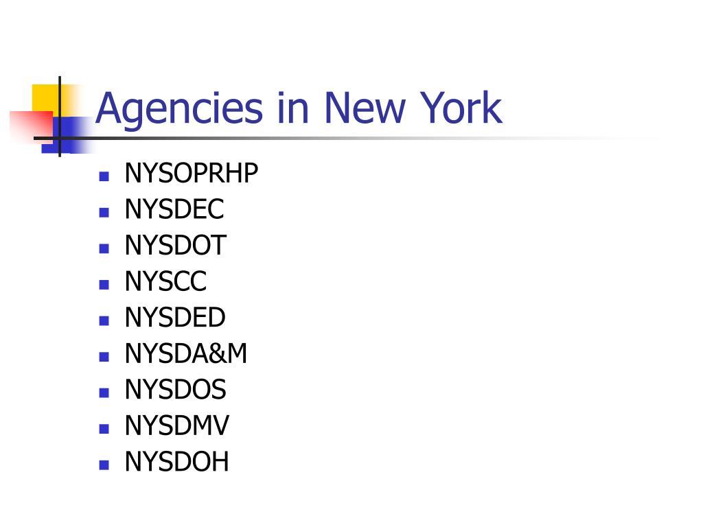 Agencies in New York