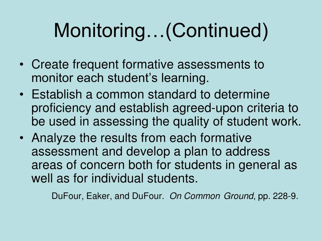 Monitoring…(Continued)