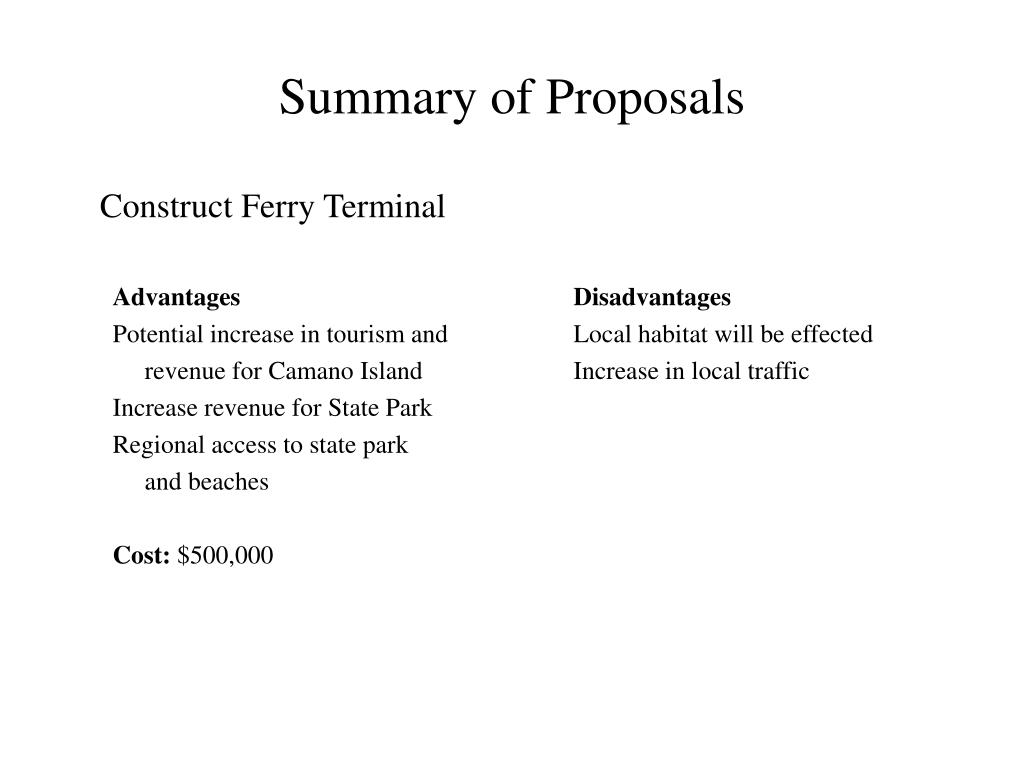 Summary of Proposals