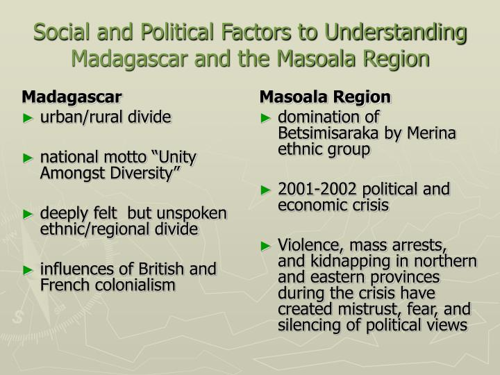 Social and political factors to understanding madagascar and the masoala region