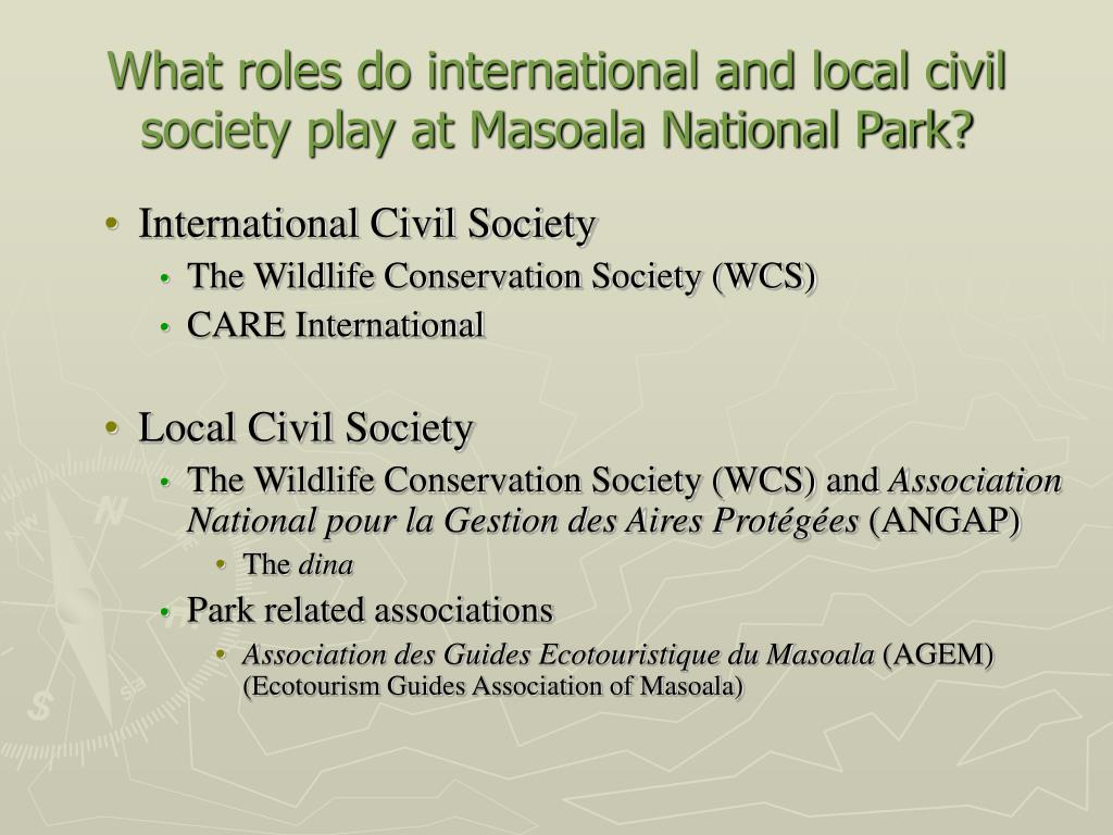 What roles do international and local civil society play at Masoala National Park?