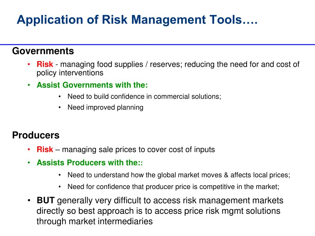 Application of Risk Management Tools….