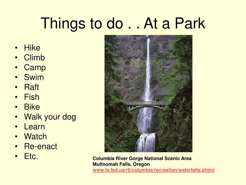 Things to do . . At a Park