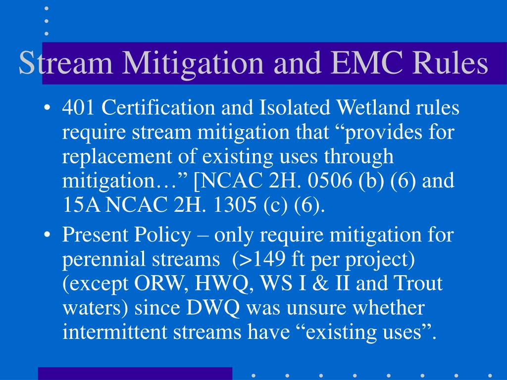 Stream Mitigation and EMC Rules