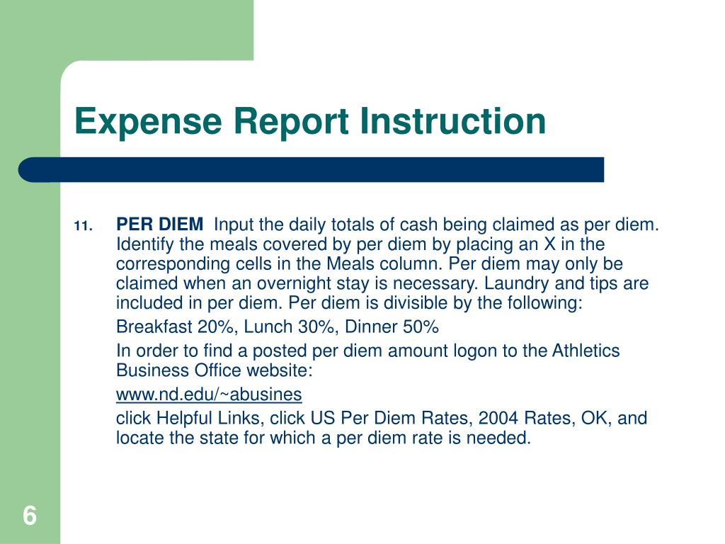 Expense Report Instruction