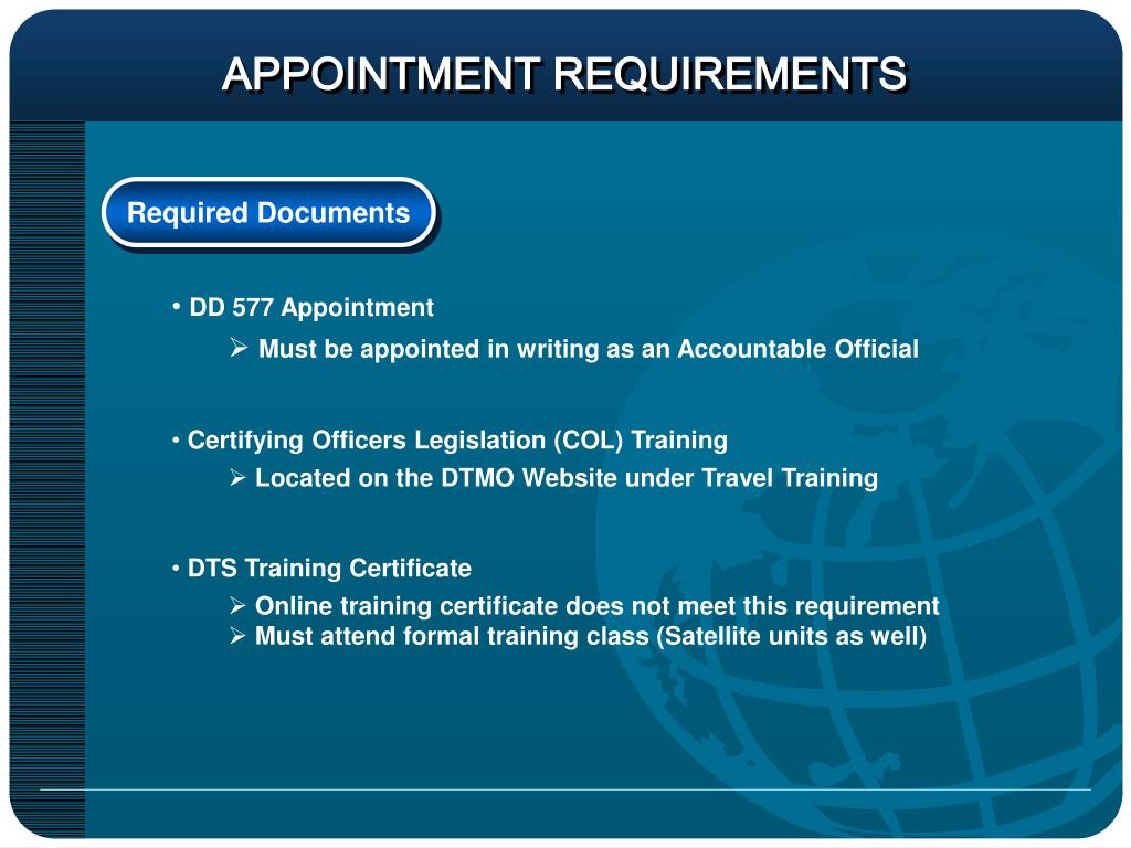 APPOINTMENT REQUIREMENTS