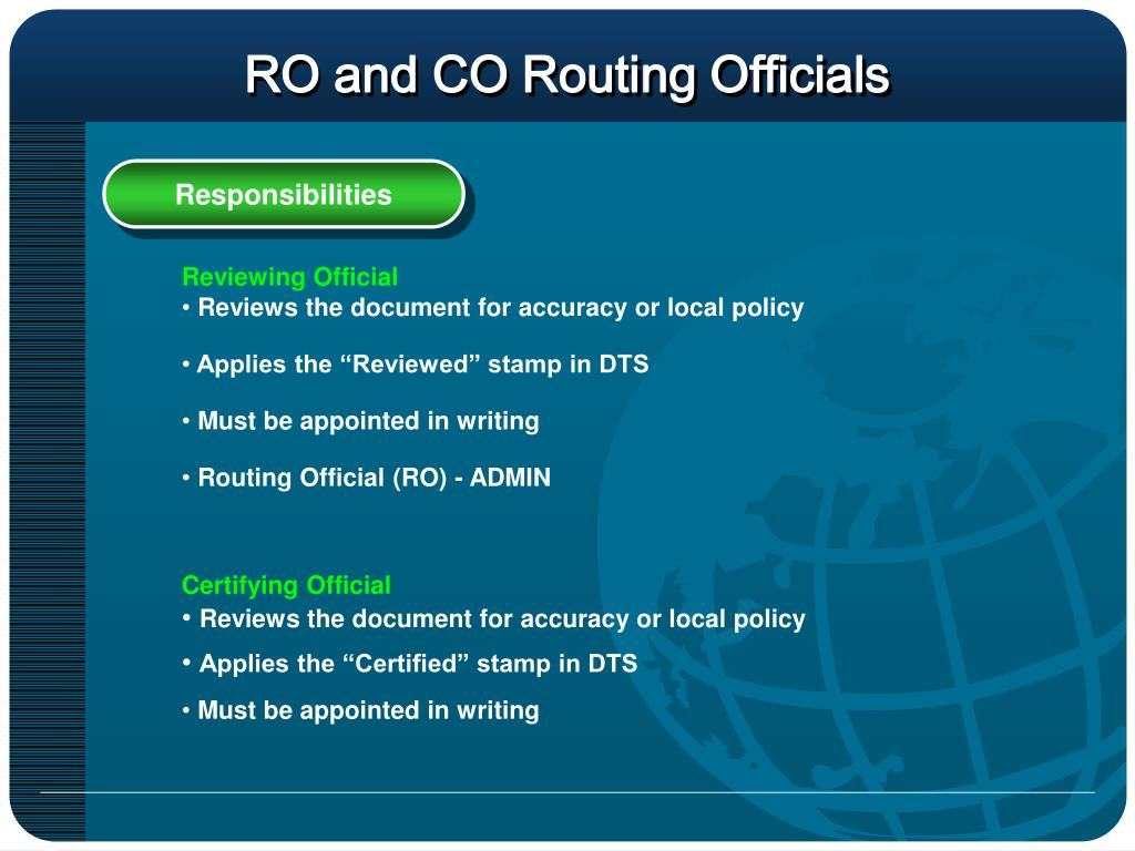 RO and CO Routing Officials