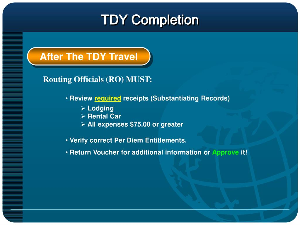 TDY Completion