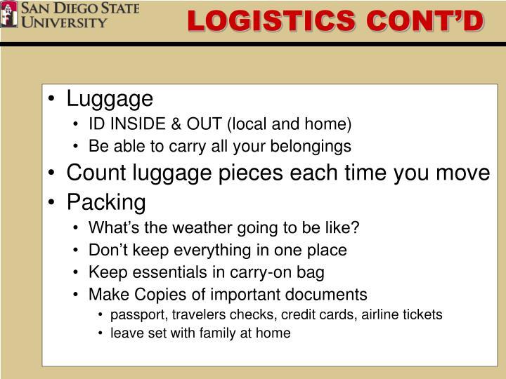 Logistics cont d