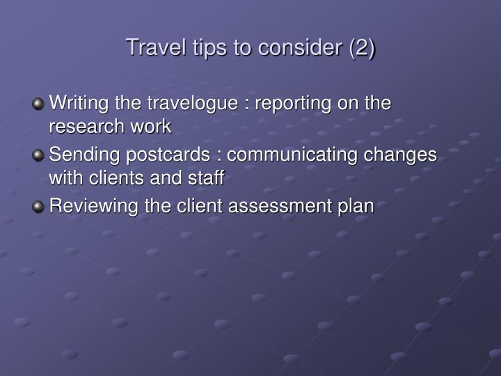 Travel tips to consider 2