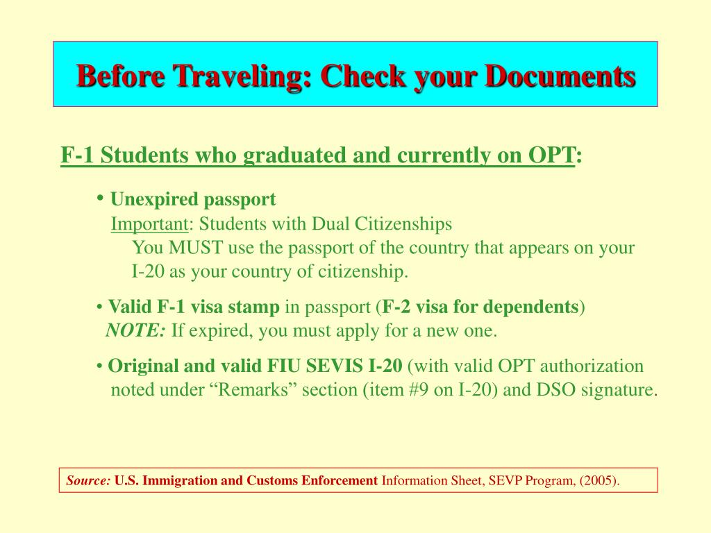 Before Traveling: Check your Documents