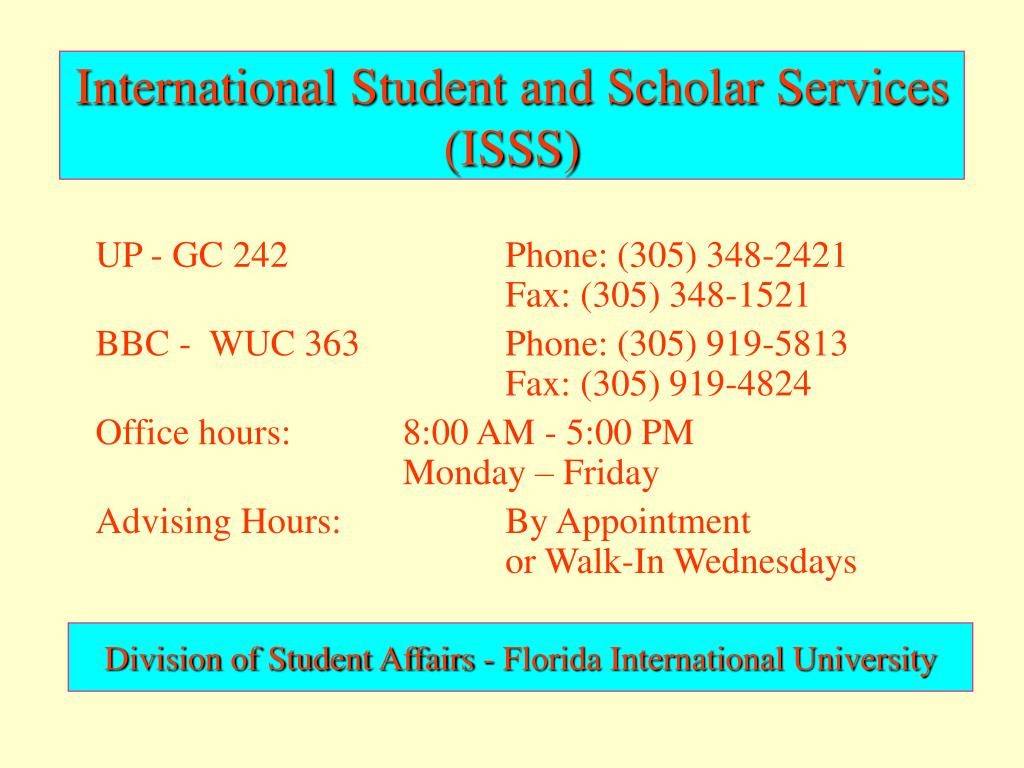 International Student and Scholar Services (ISSS)