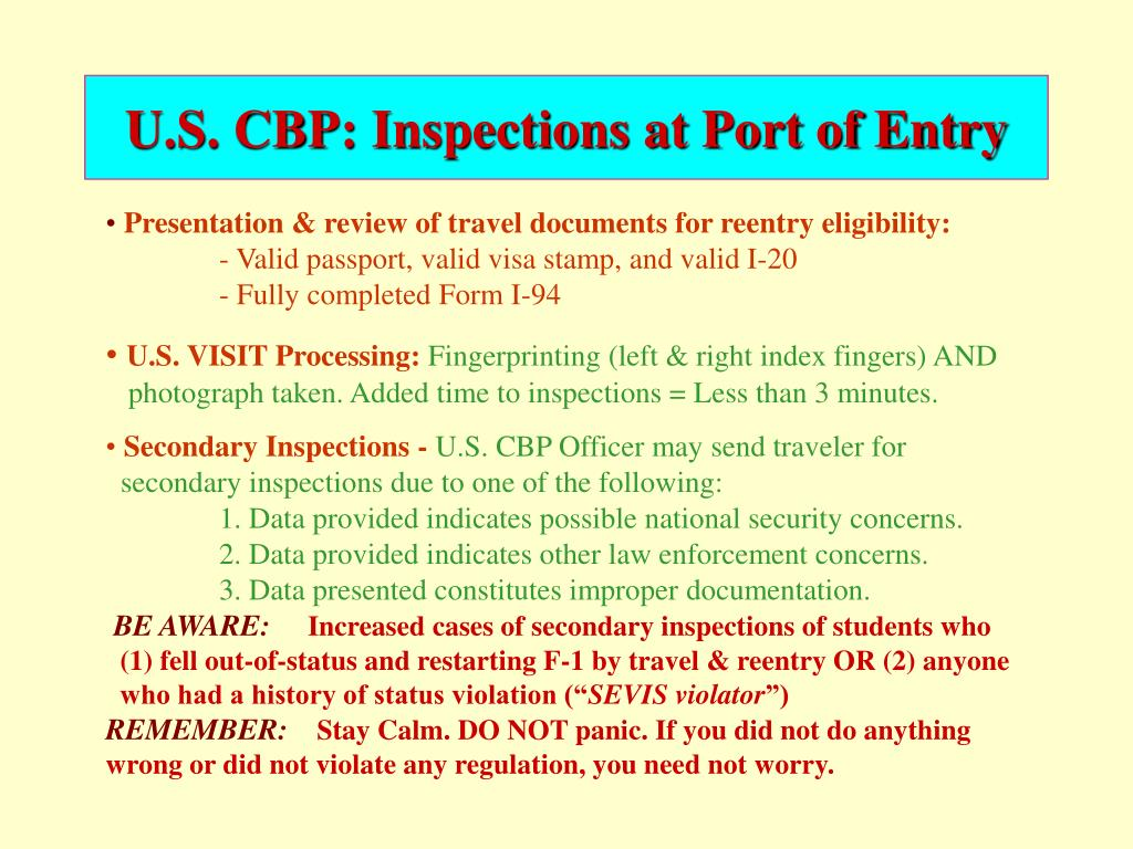 U.S. CBP: Inspections at Port of Entry