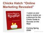 chicks hatch online marketing revealed