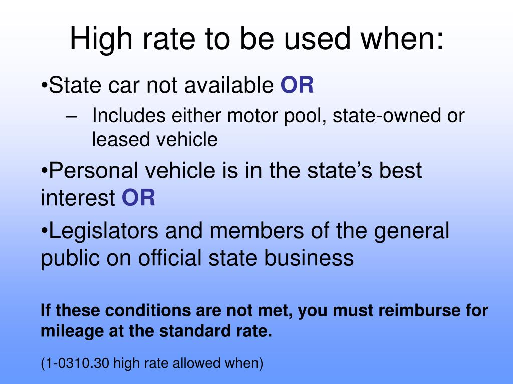High rate to be used when: