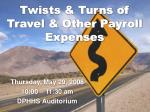 twists turns of travel other payroll expenses
