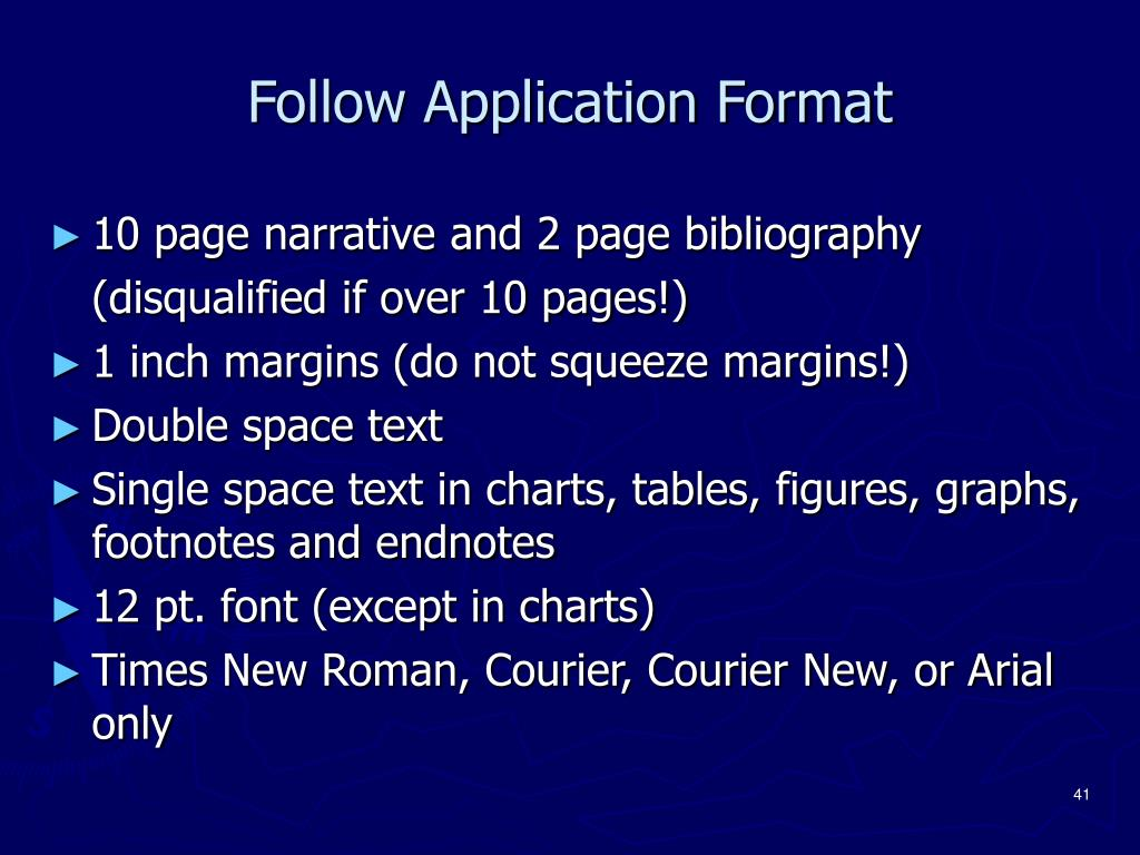 Follow Application Format