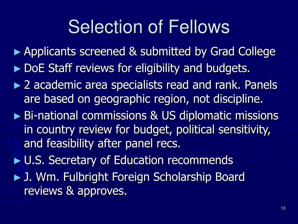 Selection of Fellows