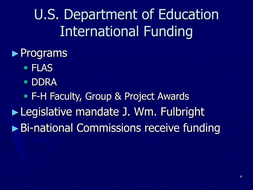 U.S. Department of Education International Funding