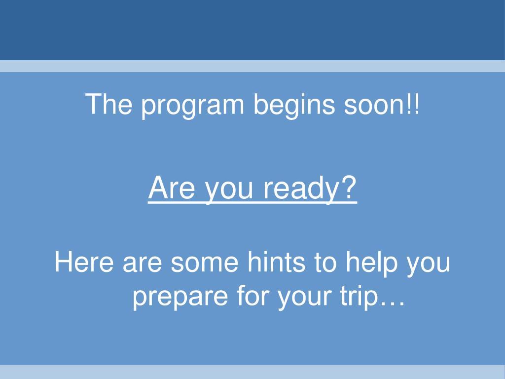 The program begins soon!!