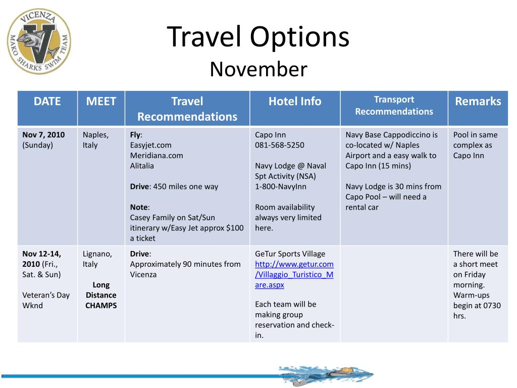 travel options november l.