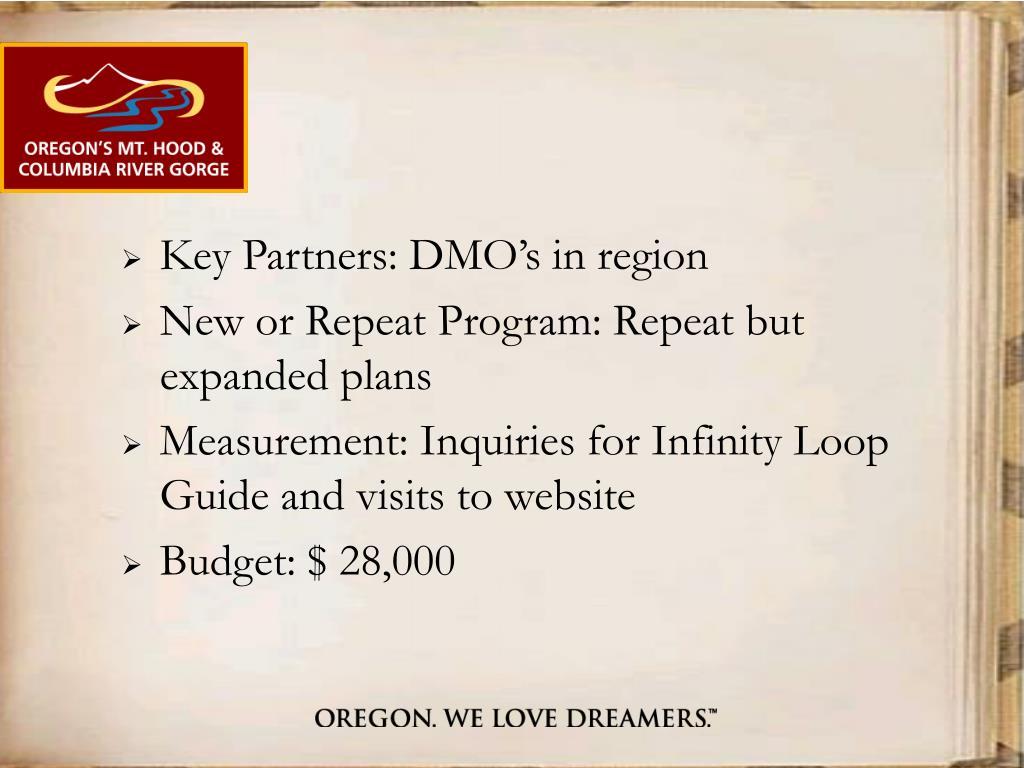 Key Partners: DMO's in region