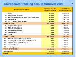 touroperator ranking acc to turnover 2008