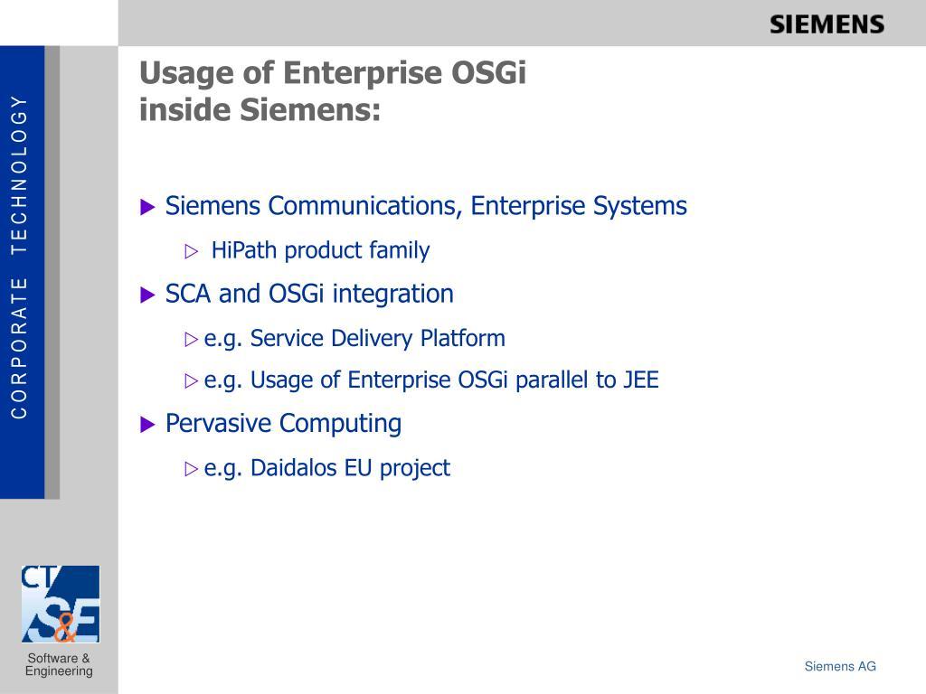 usage of enterprise osgi inside siemens