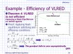example efficiency of vlred