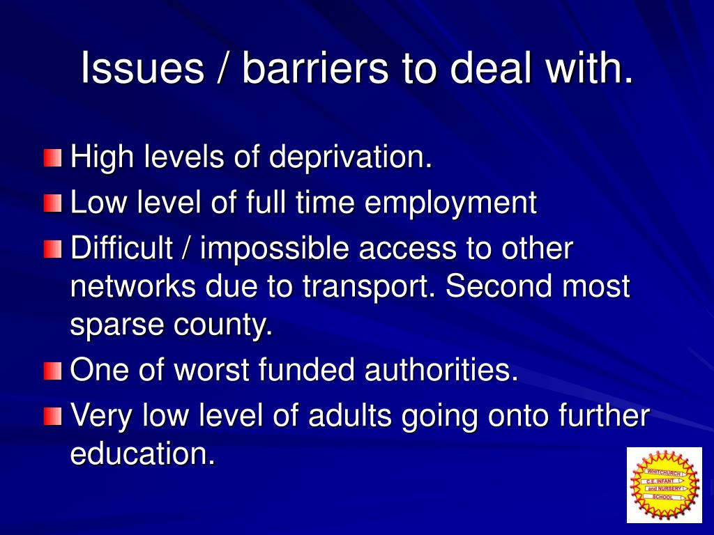 Issues / barriers to deal with.